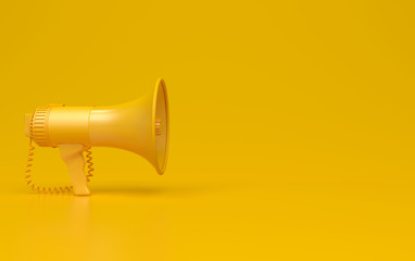 Monochrome yellow single megaphone. Loudspeakers on a yellow background. Conceptual illustration with copy space. 3D render.