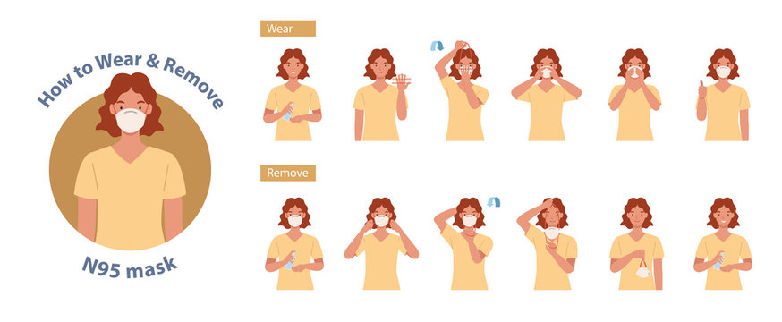 How to wear and remove N95 mask correct. Women presenting the correct method of wearing a mask,To reduce the spread of germs, viruses and bacteria. Vector illustration in a flat style