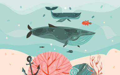 Hand drawn vector abstract cartoon summer time graphic illustrations template background with ocean bottom,corals reefs,seaweed and big whales isolated on blue water waves Papier Peint