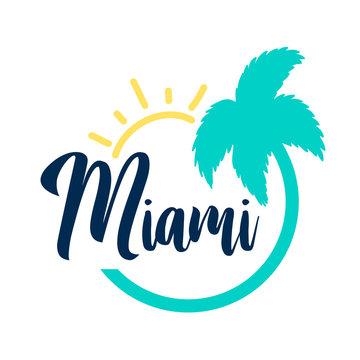 Hand drawing Miami slogan vector illustration .
