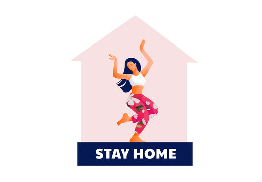 Stay at home type. Coronavirus Lockdown. Covid-2019 quarantine. Woman dancing at home. Modern flat design concept of web page design or mobile website. Vector illustration
