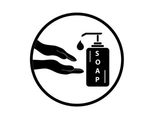 Vector icon of washing hands. Hands and we are dealing with a white background. The medicine.