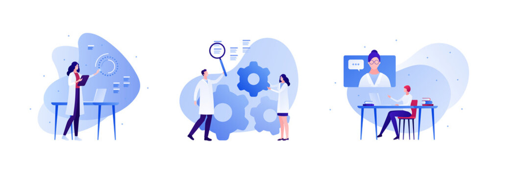 Science engineering and technology innovation concept. Vector flat person illustration set. Man and woman scientist team. Lab equipment. Laptop, online conference, cog. Design for teamwork banner