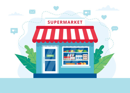 Grocery store concept, supermarket with different grocery. Vector illustration in flat style