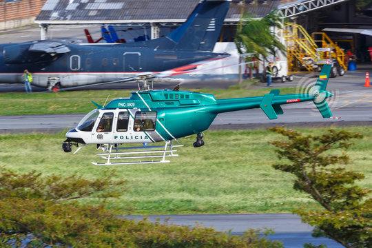 Policia Nacional de Colombia Bell 407 helicopter Medellin Enrique Olaya Herrera airport