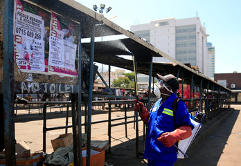 A city health worker sprays disinfectant at a bus terminus during a 21 day nationwide lockdown to limit the spread of coronavirus disease (COVID-19) in Harare