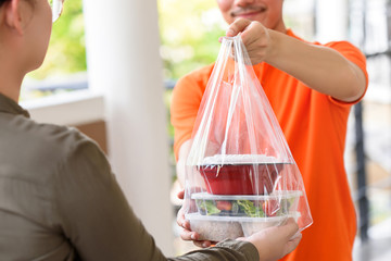 Delivery man giving lunch box meal in the bag to customer that ordered online at home