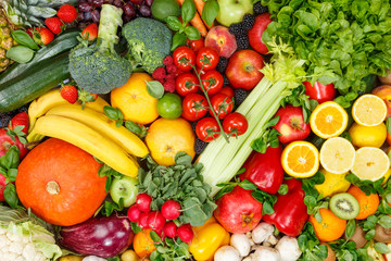 Background food fruits and vegetables collection fruit vegetable healthy eating diet apples oranges tomatoes