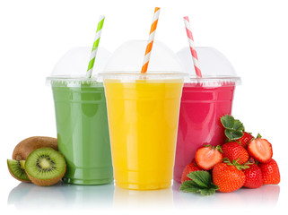 Aluminium Prints Juice Juice collection of fruit smoothies fruits orange straw drinking healthy eating drink in cups isolated on white