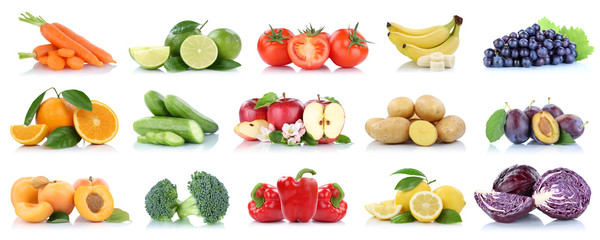 Wall Mural - Fruits vegetables collection isolated apple apples oranges tomatoes banana colors fresh fruit