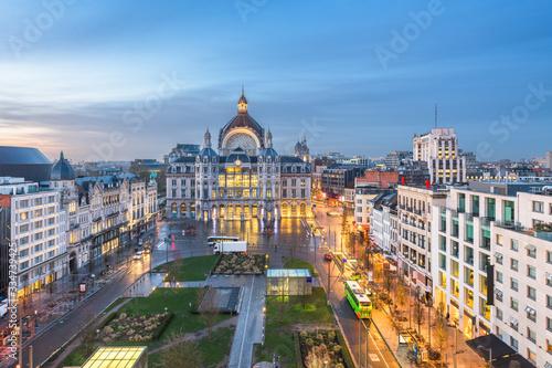 Fototapete Antwerp, Belgium cityscape at Centraal Railway Station