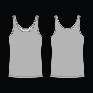 Technical sketch gray tank top for girls isolated on black background.