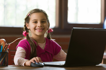 Online Remote Education Concept, Child Girl Studying At Home