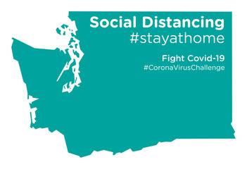 Washington state map with Social Distancing stayathome tag Fotomurales