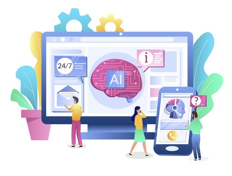 Ai chatbot consultant concept vector flat style design illustration
