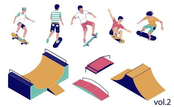 Skate park set, vector flat isometric illustration