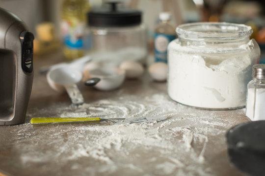 Baking mess on kitchen counter
