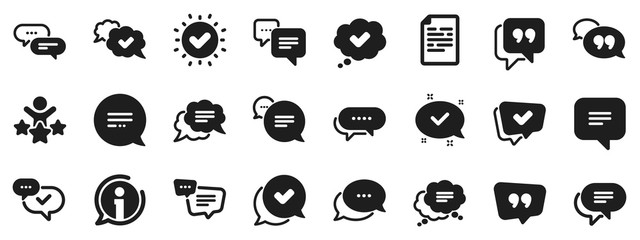 Obraz Approved, Checkmark box and Social media message. Chat and quote icons. Chat speech bubble, Tick or check mark, Comment quote icons. Think, approved talk, speech bubble. Vector - fototapety do salonu