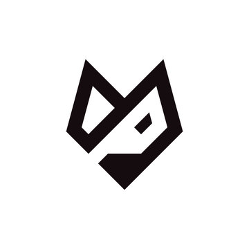 Initial letter M or P logo template with fox head illustration in flat design monogram symbol