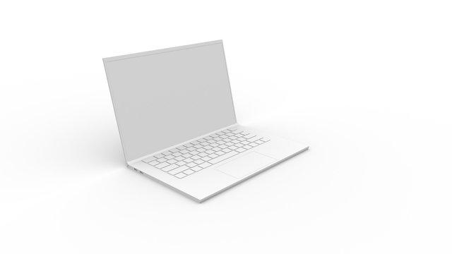 ノートパソコンのCG 白