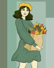 beautiful girl carries a bag of groceries with vegetables and herbs, bouquets of flowers of tulips