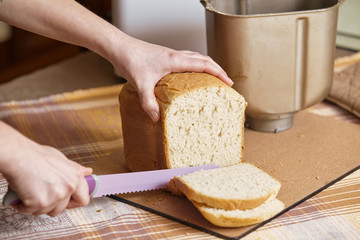 Hostess cuts loaf of bread with big knife