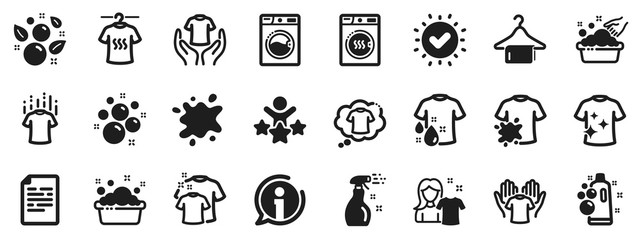 Dryer, Washing machine and dirt shirt. Laundry icons. Laundromat, hand washing, soap bubbles in basin icons. Dry t-shirt, laundry service, dirty smudge spot. Clean clothes. Vector
