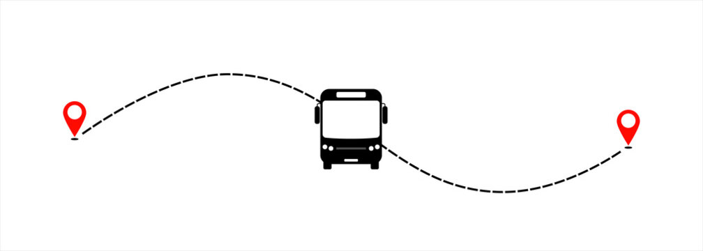 Bus line path of bus road route with start point GPS and black dash line. Vector illustration.