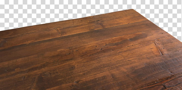 Perspective view of wood or wooden table top corner on isolated background including clipping path