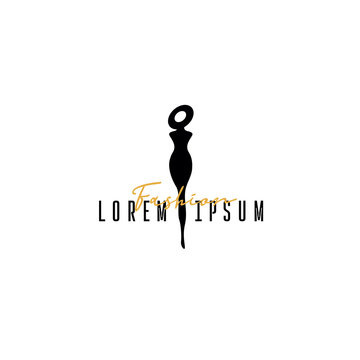 Fashion boutique logo, fashion logo template on white background, silhouette girls in hat for your website, mobile application. Vector illustration