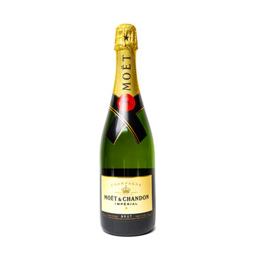 Bottle of Moet & Chandon champagne. Studio shot isolated on white