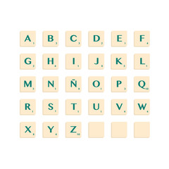 Complete Alphabet uppercase in scrabble letters. Isolate vector illustration ready to compose words and phrases.
