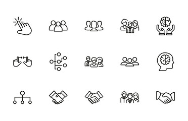 Set of interaction related vector line icons.