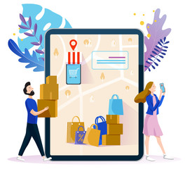Concept illustration of e-commerce and delivery