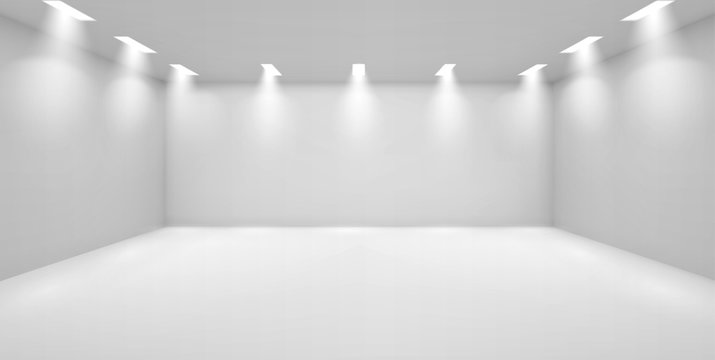 Art gallery empty 3d room with white walls, floor and illumination lamps around perimeter. Museum interior for collection presentation, photography contest exhibition hall, Realistic vector mock up