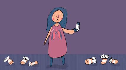 Woman afraid of her asthma inhaler medication