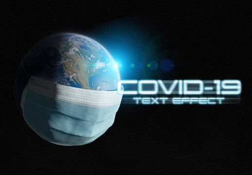 Covid-19 Text Effect with Earth in Mask Illustration