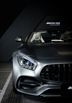 Sankt-Petersburg, Russia, September 11, 2017 : Mercedes-Benz GTC with white leather interior, cabriolet, test drive on September 11 2017 in Russia, Sankt-Petersburg.