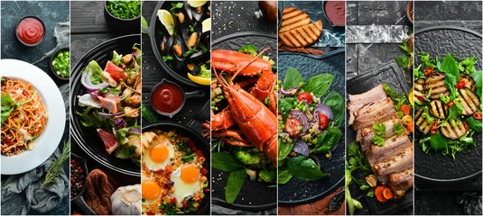 Food background. Collage of dishes and drinks on black stone background. Wall mural