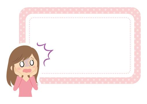 女性の表情フレーム ショック