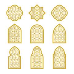 gold arabic ornamental windows set