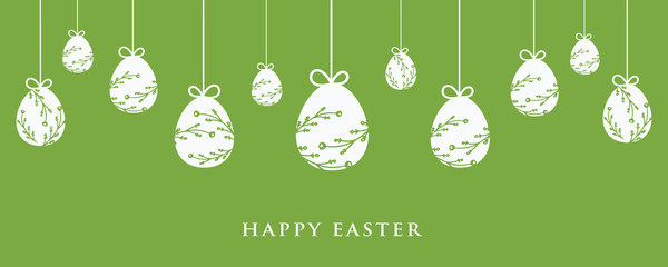 Easter banner and green background with easter eggs hanging. Wall mural