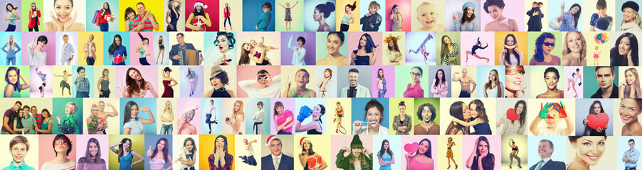 Diverse joyful persons of different age, gender, ethnicity.Collage of happy gesturing happiness and success people on colored backgrounds. Human vivid emotions, positive expressions. Gladness