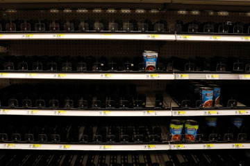 Shelves nearly empty of soup products is seen at Target store during the outbreak of coronavirus disease (COVID-19) in New York