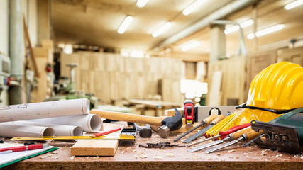 Close-up. Carpenter's workbench  with tools for woodworking. Construction industry, carpentry workshop.