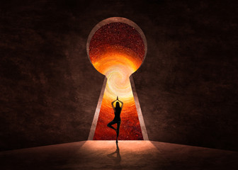 Woman in front of key hole with universe behind