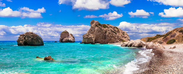Keuken foto achterwand Cyprus Best beaches of Cyprus - beautiful Petra tou Romiou, famous as a birthplace of Aphrodite