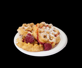 Funnel cake with raspberries