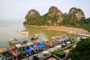 Deurstickers Canarische Eilanden Tourist boats at Dau Go Island to visit a cave, Halong Bay, Vietnam, 2019
