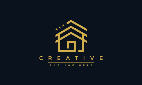 Modern house logo design. Real estate home stars icon template.